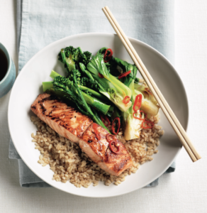 salmon and stir fry greens healthy eating for healthy eyes